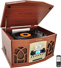 Pyle Vintage Turntable – Retro Vinyl Stereo System With Bluetooth, Cassette and CD..