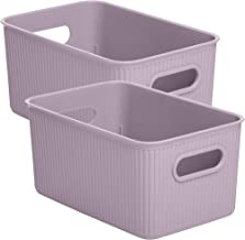 Superio Ribbed Plastic Storage Basket Organizer- 2 Pack,- Stackable Closet Storage Bin for Shelf, Desk, Pantry- Store Toy...