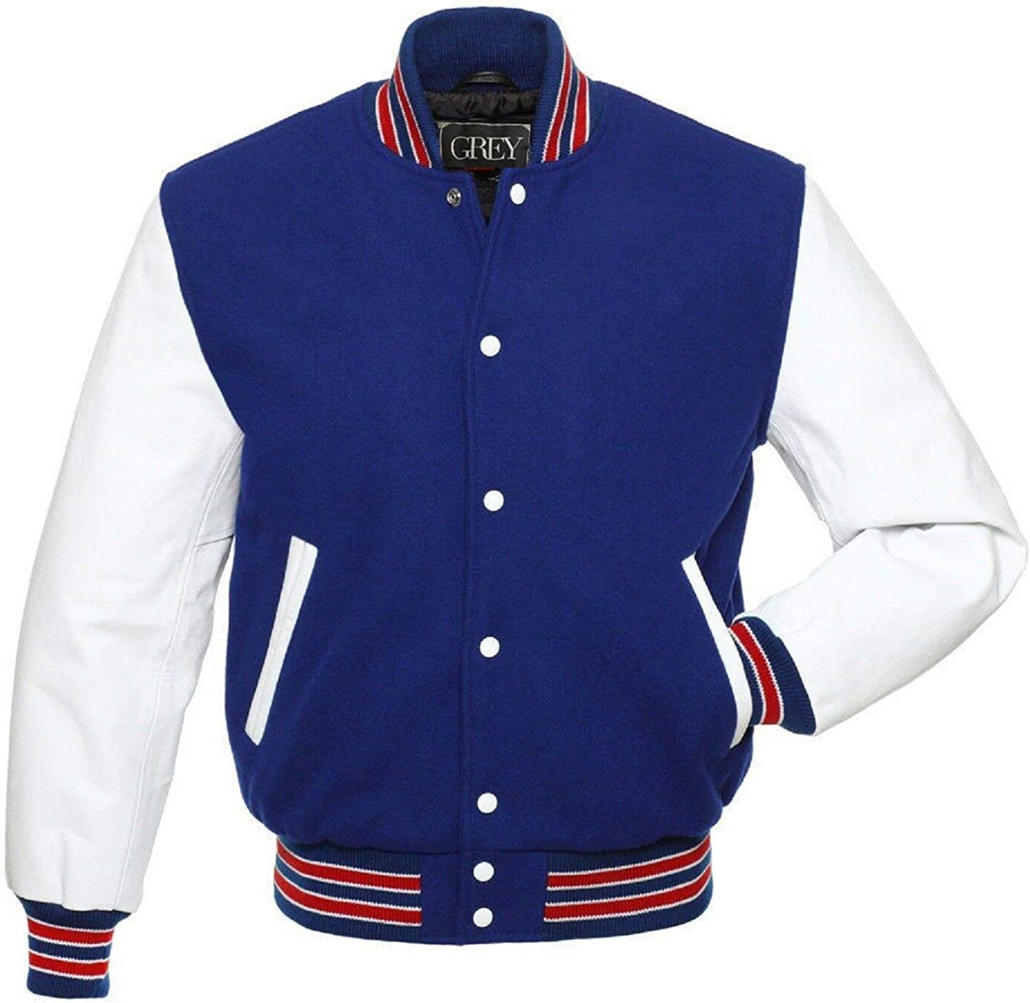 GREY Brand Varsity Jacket, Wool Body with Leather Arms Letterman Baseball Unique & Stylish (7XL) (XS, Royal Blue-White/Red Strips) (XS, Royal White-Red Strips)