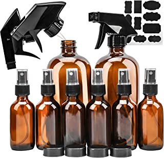 Glass Spray Bottle, KAMOTA Amber Glass Spray Bottles Set (2 Pack 16 OZ & 6 Pack 2 OZ) Refillable Container for Essential Oils, Cleaning Products, or Aromatherapy - Durable Black Trigger Sprayer