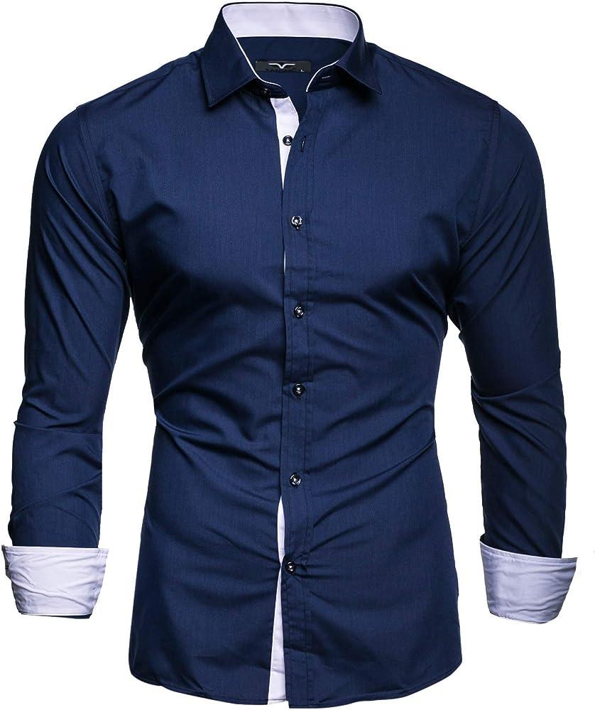 Kayhan, originale camicia per uomo, maniche lunghe, 97% cotone, 3% elastan A-TwoFace-0000100A