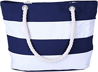 Cotton Canvas Tote Beach Bag with Zipper Top Handle Handbag Shoulder Bags Shopping Bag from Nevenka