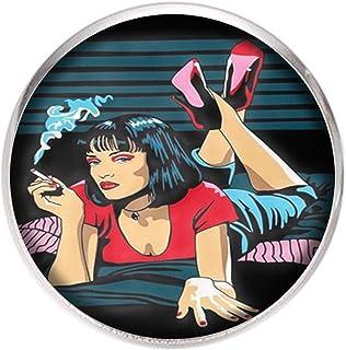 Spilla con perno in acciaio inossidabile, diametro 25 mm, spillo 0,7 mm, Fatto a Mano, Illustrazione Pulp Fiction