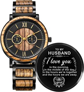 Personalized Wood Watches Gifts for Men, Engraved Handmade Mens Wood Watches for Son Husband Dad Christmas Anniversary Graduation Gifts