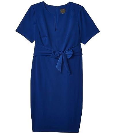 Adrianna Papell Plus Size Knit Crepe Tie Sheath Dress (Violet Blue) Women