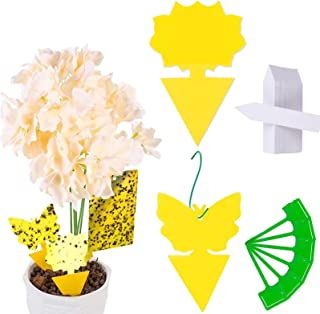 HOME-MART 12 Pack Sticky Fly Trap Yellow Dual-Sided Gnat Trap Butterfly Flower Rectangle Glue Trapper Sticky Bug Trap Disp...