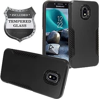 Z-GEN - Galaxy J7 2018, J7 Refine, J7 Star, J7 Crown, J7 Aura, J7 Top, J7 V J7V 2nd Gen J737 - Hybrid Phone Case for Samsung + Tempered Glass Screen Protector - CF1 Black