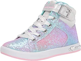 Skechers Girls' Fashion Athletics Sneaker, Silver/Multi, 3 Little Kid