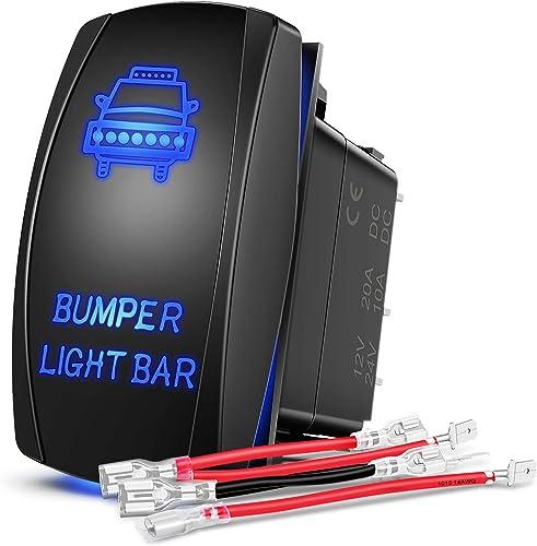 popular Nilight 90004B Bumper Light Bar Rocker Switch Led light Bar outlet online sale 5 Pin Laser On/Off Switch 20A/12V 10A/24V Switch jumper high quality wires set,2 years Warranty outlet sale