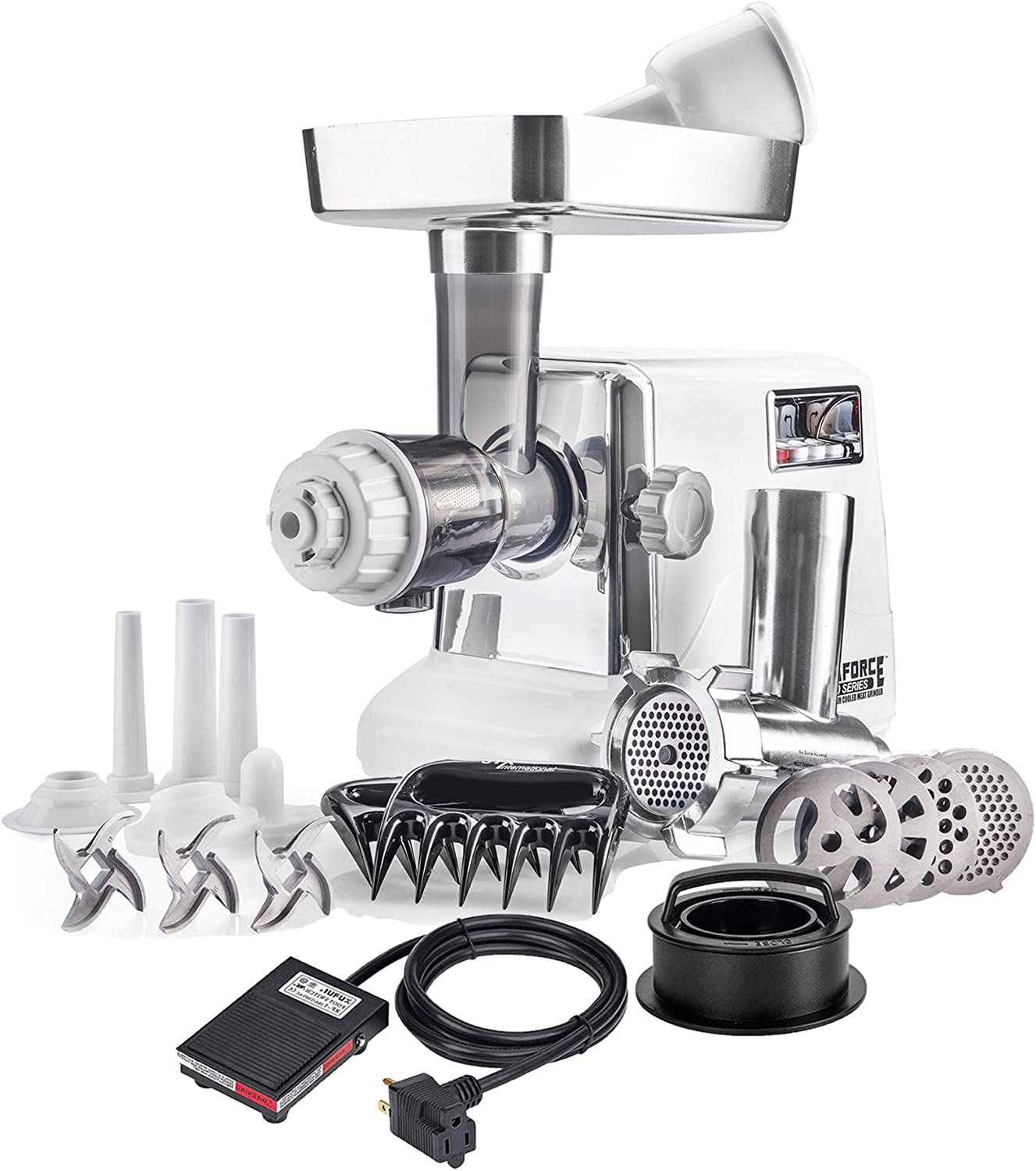 STX Turboforce 3000 Heavy Duty 7-In-1 Size #12 Electric Meat Grinder w/Foot Pedal • Cold Press Juicer • Sausage Stuffer • Kubbe Kit • Burger/Slider Maker • Meat Claws • 3 Blades • 4 Grinding Plates