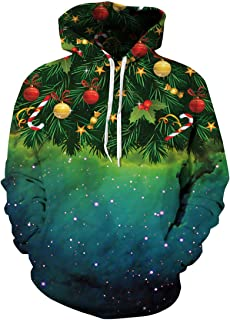 Unisex Simulation Printed Galaxy Pocket Drawstring Hooded Sweatshirt
