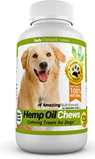 Amazing Hemp Oil for Dogs Calming Treats - Stress Relief Aid for Separation Anxiety, Storms, Barking - 120 Chews
