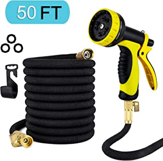 50ft Garden Hose Upgraded Expandable Hose,Extra Strength Fabric Triple Layer Latex Core, 3/4 in. Solid Brass Fittings, 10 Functions Spray Nozzle ,Lightweight Expanding Hose with Free Hose Hanger