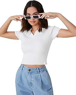 Verdusa Women's Basic Lapel Collar Short Sleeve Solid Crop Tee Shirt Top