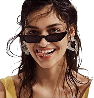 a8831061dc6 FREE Shipping on eligible orders. Small Frame Skinny Cat Eye Sunglasses for  Women Colorful Lens Mini Narrow Square Retro Cateye Vintage