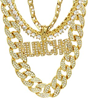 Jewel Town Hip Hop Fully Cz HUNCHO Letters Pendant Simulated Diamond 14k Gold Pendant Necklace with 24