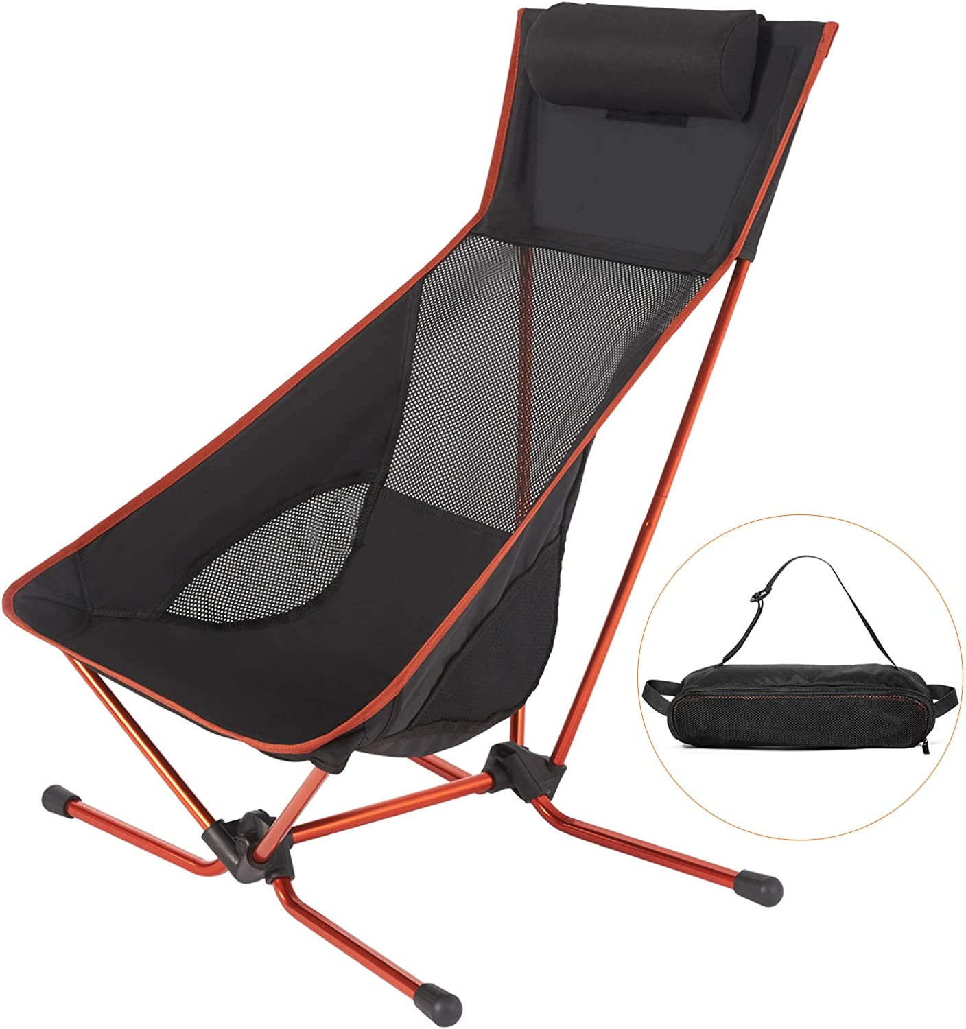 Lightweight Folding Camping Chair with Headrest, Compact for Backpacking Picnic Beach Festival Hiking with Carry BagMax Load Bearing  300LB