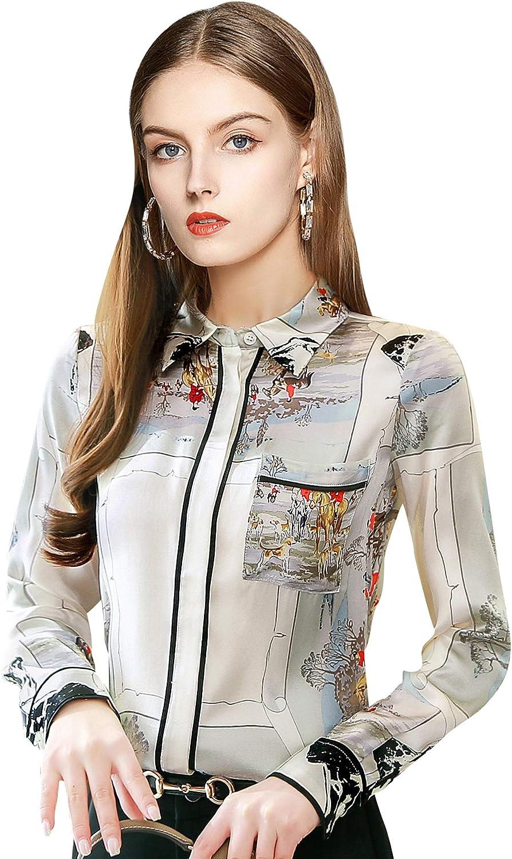 LAI MENG FIVE CATS Women's Long Sleeves Button up Baroque Print Blouse Shirts