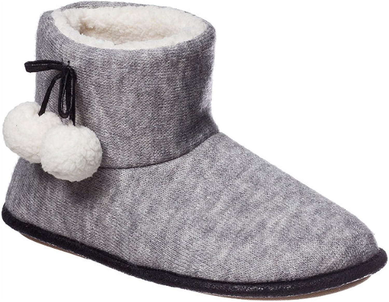 Hanes Womens Alba Indoor Outdoor Bootie Slippers