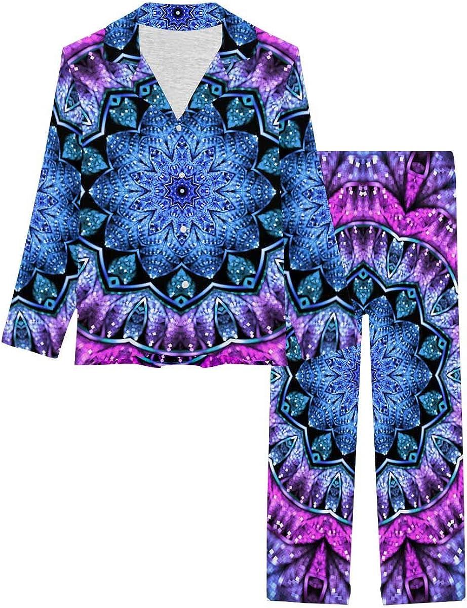 InterestPrint Button Down Nightwear Soft Long Sleeve Pj Set Blue and Purple Fractal Mandala