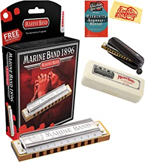 Hohner Marine Band 1896 Classic Harmonica Bundle with Carrying Case, Pouch, Harmonica Beginner Manual, and Austin Bazaar P...