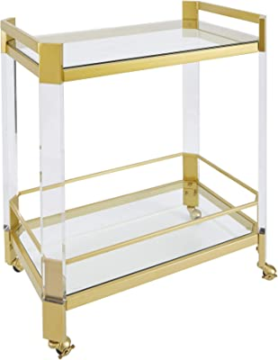 Silverwood Kitchen Cart, 19 L x 28 W x 30 H in in, Gold