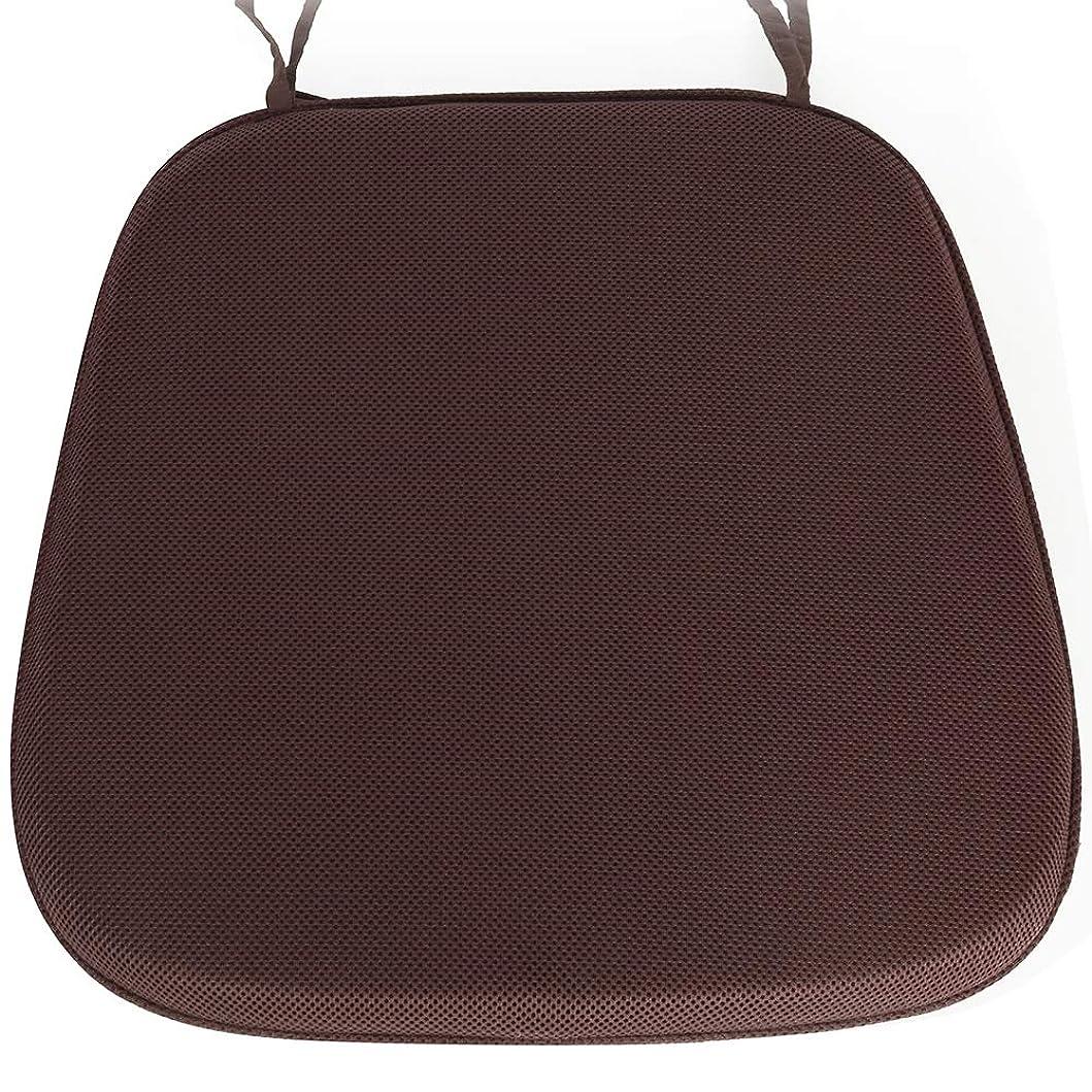 少しほとんどないピッチャーShinnwa 超通気 椅子用 座布団 蒸れない ダイニングチェア クッション 丸洗える 事務椅子クッション 滑り止め ひも付き 馬蹄クッション 43*41*4CM ブラウン