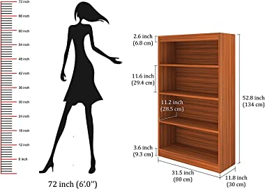 "Shilpi Handmade Book Storage Rack Wooden Brown Cabinet (4 Shelves, 52.8"" x31.5)"