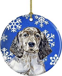 Caroline's Treasures LH9277-CO1 English Setter Winter Snowflake Holiday Ceramic Ornament, Multicolor