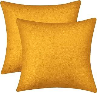 Lirex 2-Pack Velvet Throw Pillow Covers, 18 x 18 Inches Velvet Decorative Soft Solid Color Square Pillow Cover, Velvet Couch Pillow Cases, Pilling and Fade Resistant (Orange, 18 x 18 inch)