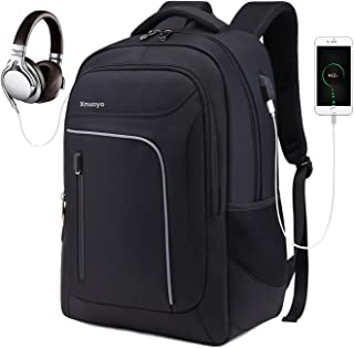 Xnuoyo Travel Laptop Backpack, Business Backpack Water-resistant Computer Backpack Schoolbags with USB Charging Port Headphone Port for College Students Men & Women Outdoor Sports Fit for 12-17 Inch L