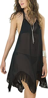 JOXJOZ Women's Halter Tassel Chiffon Bikini Swimsuit Cover Up Beachwear Beach Dress Black