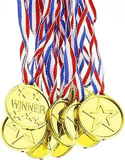 Ndier Juego de 12 medallas de plástico, para ganadores de Oro olímpico, premios de Juguete, Regalos para niños y Fiestas