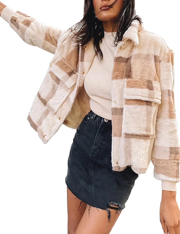 Zontroldy Women's Plaid Faux Fleece Coat Long Sleeve Lapel Sherpa Shaggy Winter Jacket