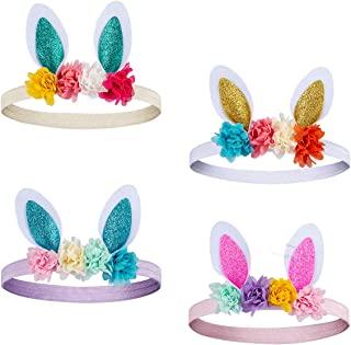 Madholly Pack of 4 Bunny Rose Easter Headbands- Easter Lovely Rabbit Ear Baby Bunny Headband with Flowers for Women Girls ...
