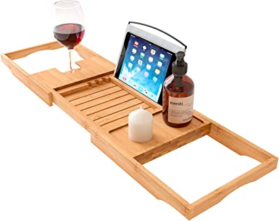 Home Intuition 27.75 - 41.5 inch Expandable Bamboo Bath Caddy Organizer Tray with Book Tablet Smartphone Stand, Shower Wine Glass Cup Holder