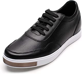 G51123 Black Leather Lace-up Brogue Wing-tip Oxfords CALTO Mens Invisible Height Increasing Elevator Shoes 3.2 Inches Taller