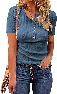 Womens Long Sleeve Henley Shirts Casual Button Tunic...
