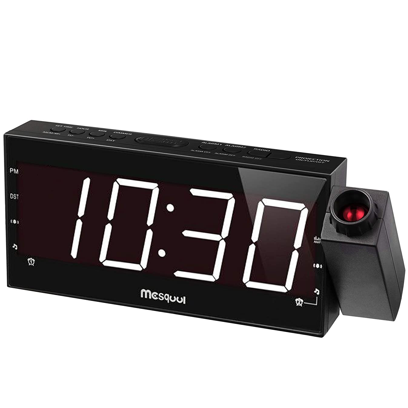 Mesqool Projection Alarm Clock for Bedroom - AM FM Radio & Sleep Timer, 180° Projector, 7