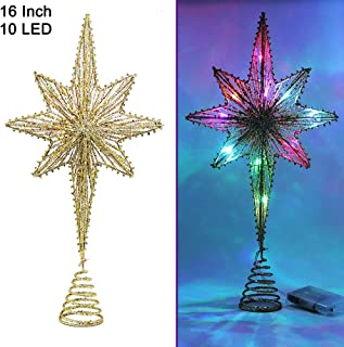 Twinkle Star Lighted Christmas Tree Topper, Bethlehem Star Treetop with 10 LED Colorful Fairy Lights, Holiday Christmas Tree Decorations, 16 Inch (H)