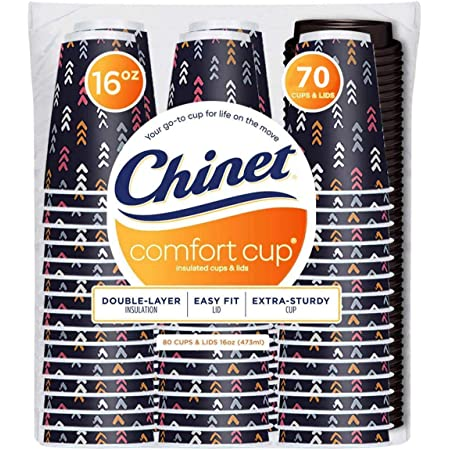 Chinet Comfort 16 oz Cups With Lids (70Count Each), 70Count