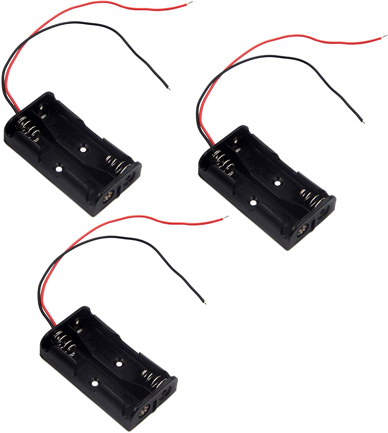 LAMPVPATH (Pack of 3) 2 AA Battery Holder, 2 AA Battery Holder with Leads, 2 AA Battery Holder with Wires