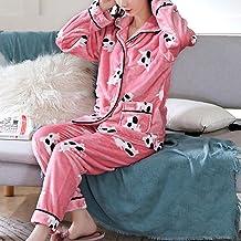 Nachthemd Voor Dames,Roze Flanel Casual Nachtkleding Met Lange Mouwen En Dierenprint Zachte Lange Broek Loungewear Herfst ...