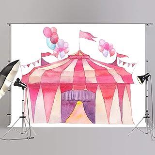 JOYPARK Fotohintergrund für Babyparty, Aquarellmalerei, Zirkuszelt, Fotoanruf, Kindergeburtstagsbanner