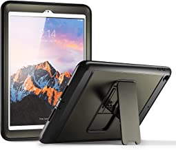 YOUMAKER New iPad 9.7 Case 2018/2017, Heavy Duty Kickstand with Built-in Screen Protector Full-Body Shockproof Protective Case Cover for Apple iPad 9.7 inch 2017/2018 5th/6th Gen (Gun Metal/Black)