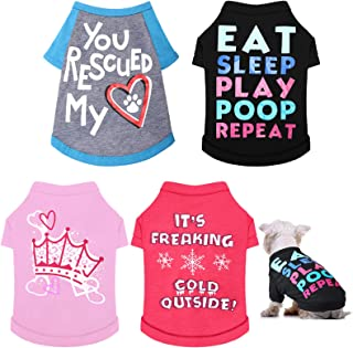 4 Pieces Dog Shirts Printed Puppy Shirts Pet Clothes Comfortable Puppy Tee Shirts Breathable Dog Sweatshirt Pet Apparels f...