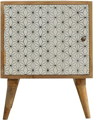 Artisan Furniture Cabinet with Drawers, Mango Wood, Oak/Screen Print, Single