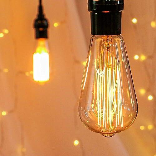 Edison Light Bulbs, Brightown 4Pcs Vintage 60 Watt Incandescent Light Bulbs E26 Base Dimmable Decorative Antique Fila...