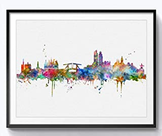 Amsterdam Skyline Art Print Painting Skyline City Nursery Amsterdam Wall Art Poster Inspirational Watercolor Art Decor 8x10 inch Unframed