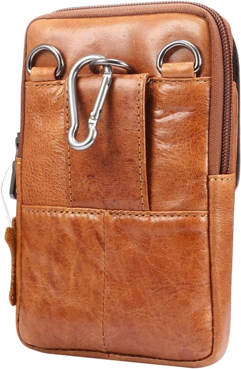 Genuine Leather Cell Phone Belt Holster Waist Bag Crossbody Purse Travel Bag for Galaxy S20+ S10 Plus,A30s,A10s,A50,Note9,Note 8, Google Pixel 4 XL,Xiaomi Mi 9T, Redmi 8A,OnePlus 7T,BLU Vivo XL5-Brown